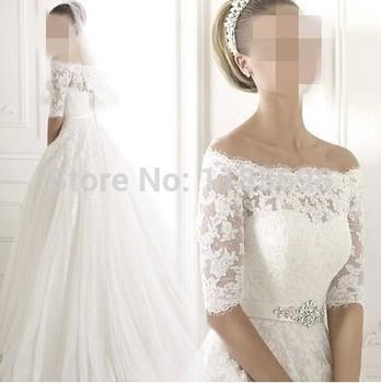 Роскошные кружева погоны слово принцесса невесты 2015 новая зимняя прополка платье с длинными рукавами свадебное платье свадебные платья noiva