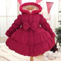 2015 Children Clothing Warm Winter Outwear Girls Coats and Jackets Princess Fashion Hooded Chaqueta Red Abrigo Cute Kids Jacket
