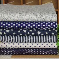 Dark Navy Blue 6 Assorted Pre-Cut Twill Cotton Quilt Fabric Fat Quarter Tissue Bundle, Charm Sewing Handmade Textile 45x45cm