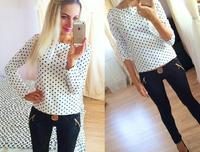 2015 fashion blouses women work wear casual blouse long sleeve dots shirts for women WTS11