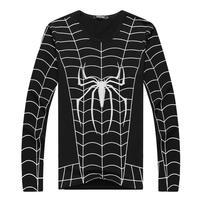 New 2015 Spider-man tshirt Men's Tight elastic long sleeve print tshirt/Men sports casual cotton T shirt hip hop Rock punk tee