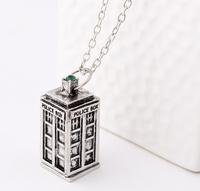 2015 Antique silver/Brozen color doctor who TARDIS police box pendant necklace Men's women's necklace