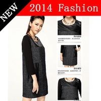2014 NEW Autumn Fashion Long Sleeve PU Patchwork Women dress Casual Wool dresses Office wear Women's clothing vestido 1108K