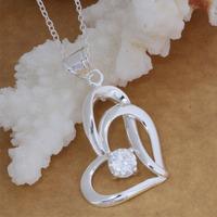 Romantic Pendant Necklace Sliver Plated Pendant Warm Heart Shape Shine Big Crystal Hot Sale Women Jewelry AN060