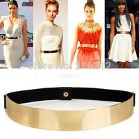 Fashion Hot Women Elastic Metal Waist Belt Metallic Bling Gold Plate Slim
