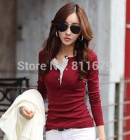 2015 New Women Fashion Slim Long Sleeve Cotton V-neck T-shirts Tops Blouses Blusas Femininas