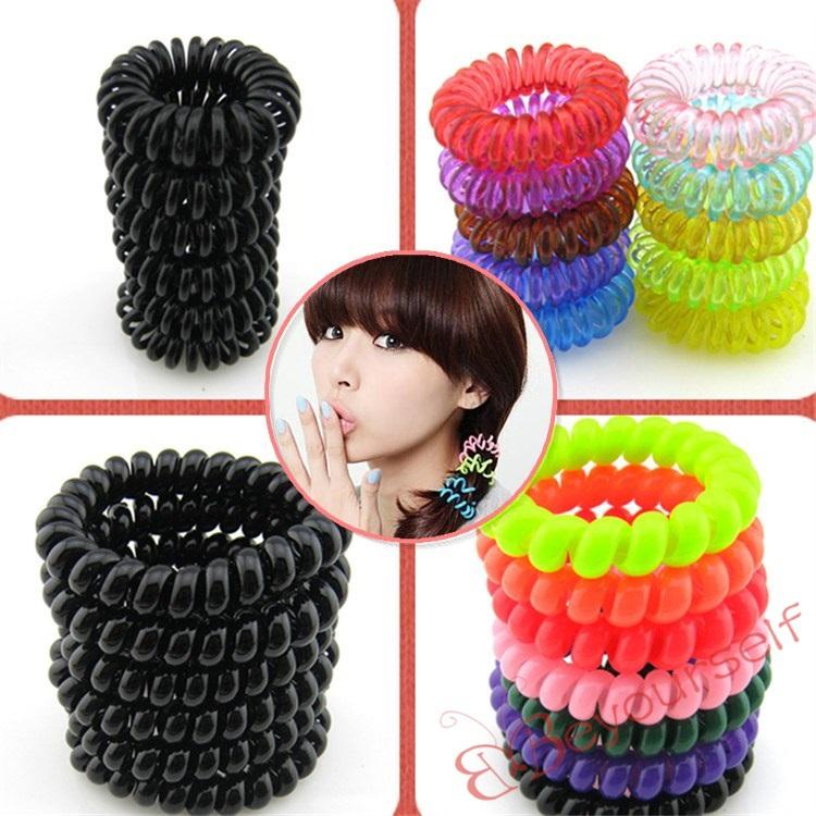 150pcs/lot S118-S119 Wholesale New Mixed Colors Random or Black Telephone Line Hair Bands Elastic Bobbles Ponioes 2.5cm(China (Mainland))