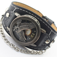 New Eagle Grand Plans Personality Men Wristwatches Fashion Sports Casual Clamshell Bronze Quartz Watches Retro Leather Watch