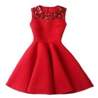 European style new fashion sleeveless high waist slim short dress women party tank dresses paillette neck ball gown D4D926