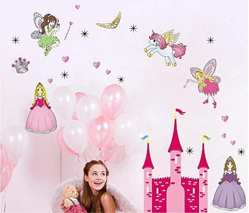 Enjoy-Free shipping Lovely Cartoon Princess Fairy Pink Castle Unicorn Art Mural Wall Sticker Decor Decals for Kids Children room(China (Mainland))