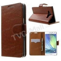 Free shipping 1pc/tvc-mall Crazy Horse Leather Wallet Stand Shell for Samsung Galaxy A5 SM-A500F