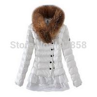 2014 New Brand Luxury Down & Parkas European Fashion Raccoon fur collar Women Winter thick Jacket Women Warm Coat Factory Direct