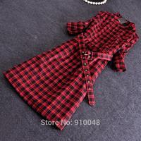 2015 women slim O-neck vintage red plaid three quarter sleeve dress with sashes / fashion spring dress for women