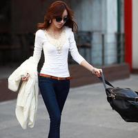 4 Sizes Fashion T Shirt Women Ladies 2014 Autumn Winter Elegant Lace Floral Pattern Long Sleeve T-shirt Tops