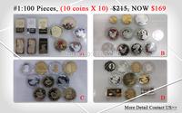 100 pcs/ 169 $ !!!! 2014 Clearance sale wholesale 100 piece (10coin *10) Canada / American / UK / Braizl / ZA coin /bullion bar