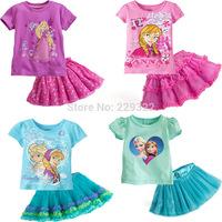 Girl Frozen Summer Clothing Sets Girl's Frozen Short sleeve T Shirt+skirt Girls Suits Sets Children Frozen Shorts New 2014