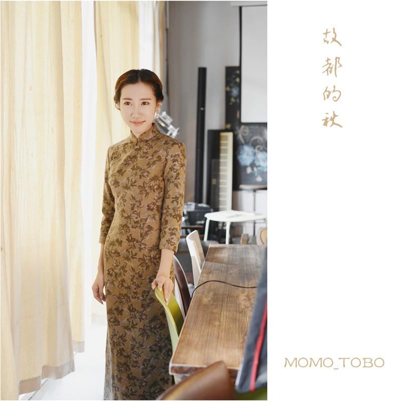 Momo cheongsam thin autumn and winter wool dress / September New sleeve basic models - the fall of the ancient capital(China (Mainland))
