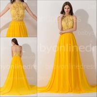 2014 Romantic High Neck Sleeveless Long Evening Dress With Lace Flowing Chiffon Vestido De Festa Longo Custom Made BZP0425
