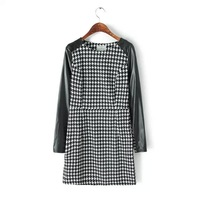 5794- Europe Spring 2015 new WOMEN round neck PU leather raglan sleeves stitching Houndstooth casual Dress