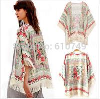 Free Shipping 2015 Women New Tassel Regular Floral New Antique Flower Fringed Shawl Sweater Chiffon Kimono Cardigan Coat Jacket