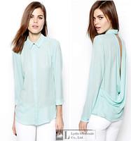 2015summer Women blouses Sexy V-neck Ladies Long Sleeve Sheer Shirts Plus Size blusas femininas Back V-Neck Chiffon Blouse women