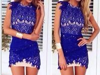 New Women Sexy Blue Lace Sleeveless Bodycon Dress Bandage Summer   Beach Lace Mini  Dress 4332