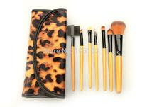 Free Shipping New 7pcs Leopard  Nylon Hair Brush Makeup Brushes Set 7pcs Cosmetic Brush Kit with Case