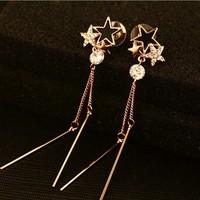 18k  Real rose gold plated earring brand cc dangel earring shiny big clear zircon earring star fashion high quality