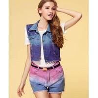 Hot Sale New Female Feminino Wistcoat Vests Women's Denim Vest Sleeveless jacket Casual Turn Down Collar Lady jeans Vests C4D517