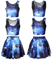 2014 fashion sell tong eaby hot lady galaxies space 3 d digital printing blasting with sexy suit black milk vestidos femininos