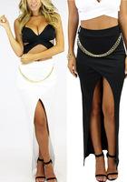 New  Women  Sexy  Metal Chain Detial Asymmetrical Slipt Maxi Long  Dress 4346