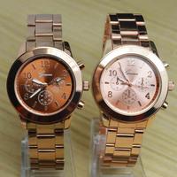 Geneva Casual Women Girl Men 3 Small Dials Style Steel Metal Strap Quartz Wrist Watch