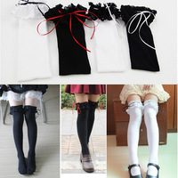 Free shipping 1 pair 2014 New Fashion Sexy lady women girl Long ribbons Lace Tights Long stockings Sock
