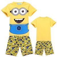 2015 New Minions Children Summer Clothing Sets 2 Unicom Kids Pajamas Autumn Wear Include T-shirts and Board Shorts DA230
