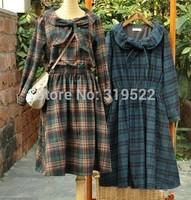 Winter wool vintage plaid bow peter pan collar dress 2015 spring