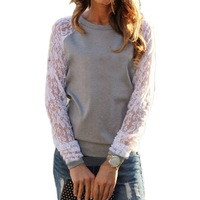 Free shipping women fashion lace patchwork hollow out sleeve hoodie women casual loose O neck hoody autumn sweatshirt T4D918