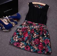 D50 Wholesale Female autumn winter plus size Retro Paint style O-neck Black print splice woolen Hedging dresses B01 GD1165