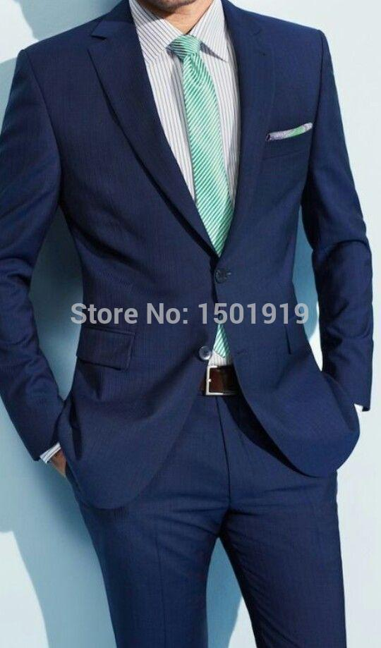 Hot New Design Navy Blue Groom Tuxedos Slim Fit Bridegroom Wedding Dress Prom Suit Boyfriend