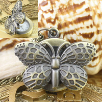 Hot-sale Occident Pocket Watch with Butterfly type Long Necklace Personality Retro Bronze Cartoon Unisex Watches for friend gift