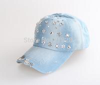 2015 Hot sale!MOQ=1PCS New Denim With Rhinestone Baseball Cap Fashion Women peaked Caps And Hats