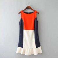 5799- 2015 spring new European style WOMEN fashion spell color round neck Sleeveless flounced Vest Dress