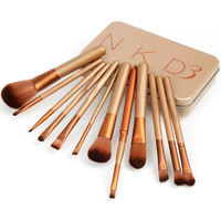 Brand New Synthetic Hair 12 pcs NAKE 3 Essential kit de pinceis de maquiagen professional makeup brushes set with Metal boxes