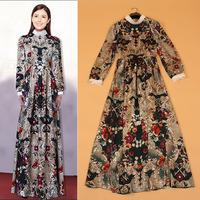 2015 New European Fashion Women Long Sleeve Floral Keys Print Vintage Maxi Dress Free Shipping F16678