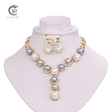 Women Wedding Dress Accessories Long Jewelry Sets Chain Pearl Necklace Earrings Set African Beads Bridal Party Pendant Necklaces(China (Mainland))