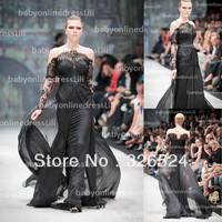 New arrivals vestidos de fiesta scalloped neck off shoulder long lace sleeves black evening dress prom dress 2014 BO3389