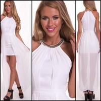 New Women Sexy  Chiffon Asymmetrical Halter Maxi  Dress Bandage  Sleeveless Summer  Beach Metal Chain Deatil Long Dress 4185