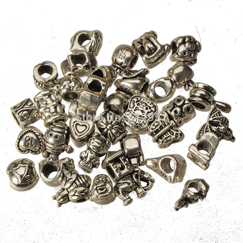 Buy metal mix beads fit pandora bracelets diy large hole european bead