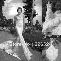 Elegant inbal dror lace wedding dresses mermaid sheath lace wedding gown bridal dress 2014 JA8688