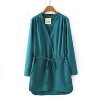 5789- 2015 new spring WOMEN European Cross V-neck drawstring waist solid color long-sleeved casual Dress