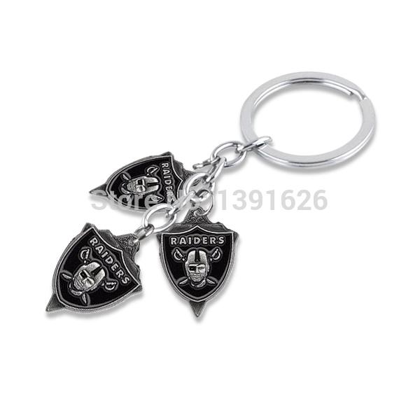 Hot selling 30pcs/lot sports rhodium Plated Oakland Raiders Key Chains team logo Key Chains Key Rings(China (Mainland))